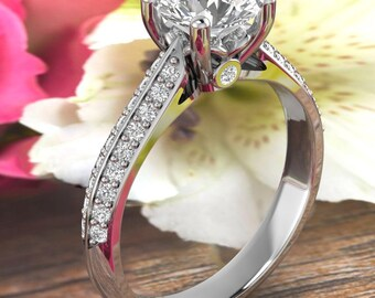 Certified Forever One DEF Moissanite Diamond Floral Style Engagement Ring,Diamond moissanite Wedding Ring In 14k White Gold  Gold -Gem1615