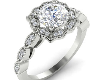 Certified Forever One Colorelss Moissanite Engagement Ring Diamond Wedding Vintage Floral Ring  In 14k White Gold  7mm Eng476 Gem1377