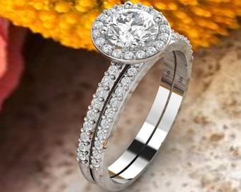 Forever one DEF Halo Diamond & Moissanite Engagement Ring Set  Diamond Wedding Set Ring Set In 14k White Gold Gem1368