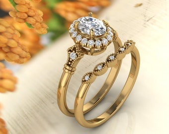 Solid 14K Gold 1.30 Ct Oval Moissanite (DEF) Artdeco  vintage Style  Engagement Ring Set  ,Diamond Ring,Moissanite wedding ring Gift For Her