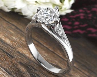 Forever One DEF Moissanite & Diamond Engagement Ring,Diamond moissanite Wedding Ring In 14k White Gold  Gold -6.5mm Round Gem1620