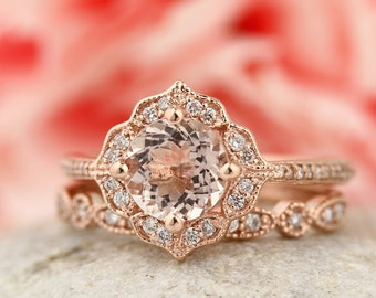 AAA Morganite Engagement Ring Set  Diamond Wedding Ring Set with Art deco band In 14k Rose Gold Gem1224