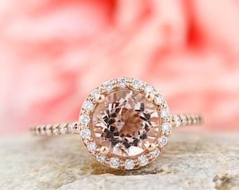 Natural AAA Morganite Ring Set, Diamond Halo Morganite Engagement Ring Band Set, Roes gold, 7mm gemstone - Gem1203