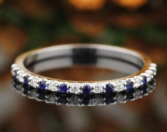Stackable style 1/5 cttw Fancy Top Blue Sapphire and diamond Alternating Wedding Band Ring In 14k White ,Rose or Yellow Gold Gem1418