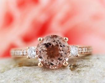 Fancy Color Morganite 8mm Round  14K Rose Gold Diamond engagement  Ring - Gem838