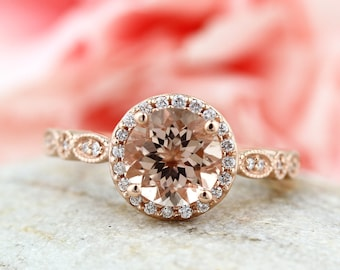 Art deco Milgrain  Bridal Set Fancy AAA  Morganite Engagement Set 14K Rose Gold Wedding Set Gem1160