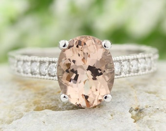 10x8mm Oval  Natural Morganite  14K White Gold Diamond engagement Ring-antique style Gem663