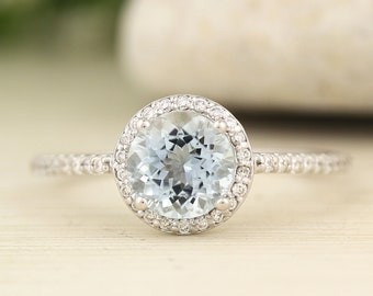7mm Round Natural Aquamarine  1.23 ct  Solid 14K White Gold Diamond Engagement Ring - Gem830