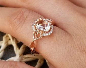 Morganite Engagement Ring Diamond Halo  Ring In 14k White / Rose Gold Gem133
