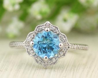 Swiss Blue Topaz Engagement Ring Diamond Wedding Ring Vintage Floral Ring In 14k White Gold Gem1224