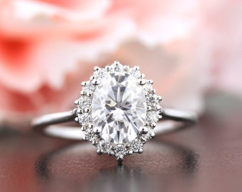 8x6mm Forever one moissanite Colorless (DEF)  and Diamond Halo Engagement  Ring and Band Set in  14K White Gold ST82717