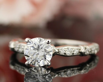1ct Forever One (GHI) Moissanite Solid 14K White Gold Diamond  Engagement  Ring   - ST233223