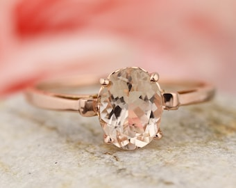 1ct Oval Morganite 14K Rose Gold Ring