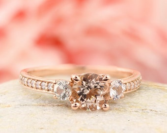 1.25 CT Natural Morganite & Diamond 14K Rose Gold Cathedral  Style 3 STone Engagement Ring - Gem838