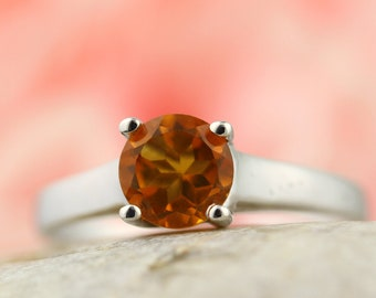 6mm Yellow Citrine Solid 14K White Gold Ring