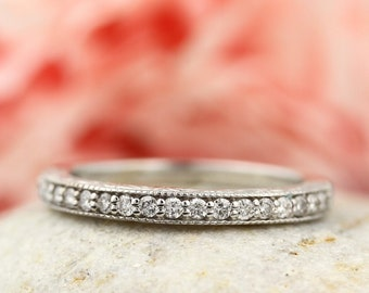 Antique Style Hand Engraved Wedding Band   14K White/Yellow/Rose  Gold Wedding Band Ring Anniversary Ring  Gem1327