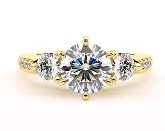 14K Yellow Gold Fancy Three  Stone Ring ,Round Diamond Stimulant Wedding  Ring /Moissanite Ring /Anniversary Ring /Promise Ring GEM1434