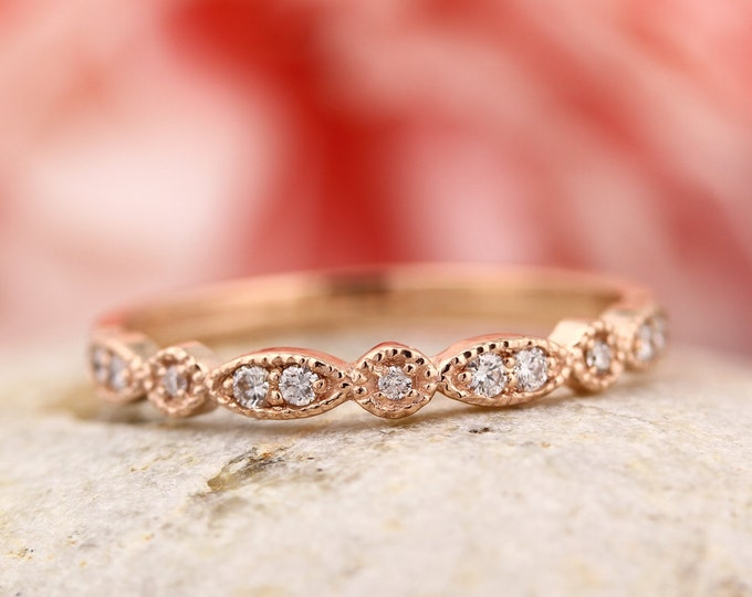 Featured listing image: Art Deco Antique Style Diamond Milgrain 14K White/Yellow/Rose  Gold half  Eternity Wedding Band Ring Anniversary Ring, Gem924