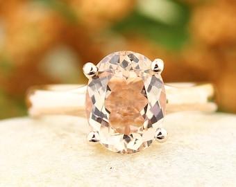 Natural Morganite Ring in 14k rose gold 9x7mm gemstone - gem1306