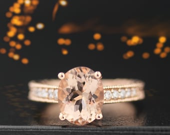 10x8mm Oval  Natural Morganite  14K Rose Gold Diamond engagement Ring-antique style Gem663