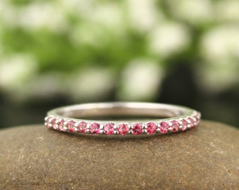 Pink topaz Wedding Band Ring In 14k White ,Rose or Yellow Gold Gem1418