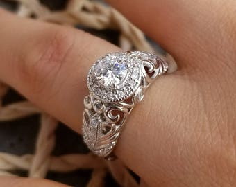 1/2ct 5mm Forever One Near colorless Moissanite  Solid 14k white gold Antique Floral Style diamond Engagement Ring - Ov95792