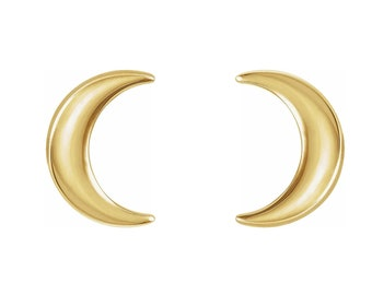 Crescent Moon Stud Earrings  In 14k White/Yellow/Rose Gold, (Other metals & Sizes available)-Ready To Ship