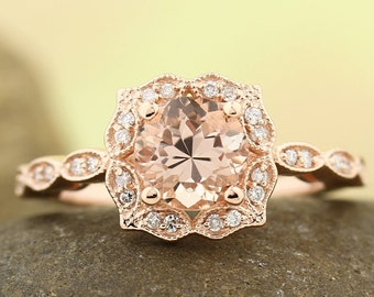 Natural Morganite & Diamond Engagement Ring, Vintage Floral style In 14k Rose Gold Gem1377