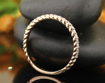 Diamond Rope  Band 14K White / Yellow / Rose  Gold  Natural Round Diamond Wedding Ring Aniversary Ring ST234115
