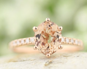 9x7mm Oval Morganite  & Diamond Engagement Ring In 14k Rose Gold  G1612