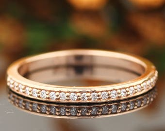 Stackable Pave 14K Rose Gold Diamond Wedding Half Eternity Matching Band Ring gem1224b
