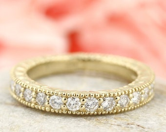 Natural Diamond Antique style Wedding Band 14k Yellow Gold Gem826