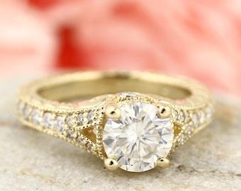 1.00 carat 6.5mm Round Brilliant  Moissanite Art Deco Vintage Engagement Ring ENR7890