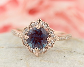7mm Chatham Created Alexandrite Engagement Ring & Diamond Wedding band set, Vintage Floral style In 14k White Gold,  Gem1224