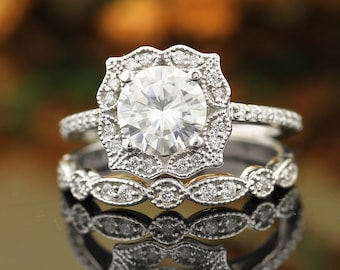 Certified Forever Moissanite Vintage Floral Style Engagement Ring Set , Diamond Wedding Ring Set  In 14k White Gold  Gold  7mm Round Gem1407