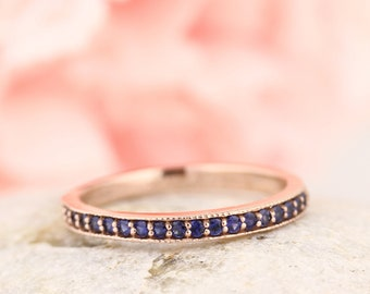 Stackable Half Eternity Blue Sapphire Wedding Band Ring With Migraine In 14k Rose  Gold ST233080