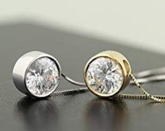 "Certified 14K Gold Moissanite pendant Necklace, Bezel-Set 16-18""  Necklace, Gold Moissanite Necklace"