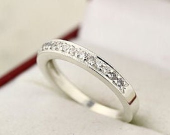 14k White Gold  Natural Diamond Anniversary Milgrain Wedding Band Ring