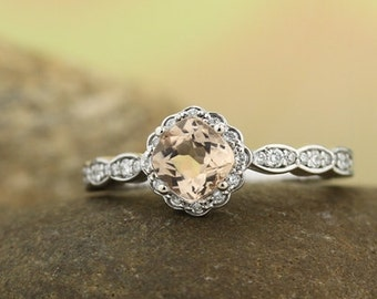 Natural  Morganite  Solid 14K White Gold Halo Diamond Engagement Ring - Gem1325 available in Rose gold