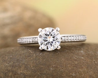 Forever One Near-Colorless Moissanite Solid 14K White Gold   Engagement  Ring Set - Gem1326  (Other metals & stone options available)