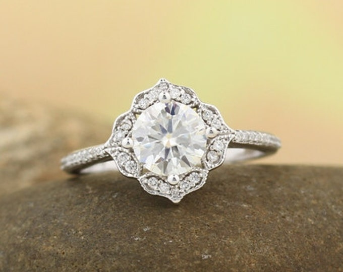 Featured listing image: Certified  7mm Forever One Moissanite Near Colorless Engagement Ring Vintage Floral style In 14k White Gold,  Gem1224