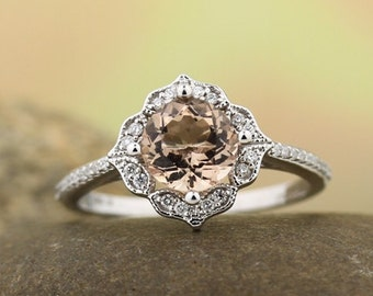 AAA Morganite Engagement Ring Set  Diamond Wedding Ring Set Vintage Floral style In 14k White Gold Gem1224