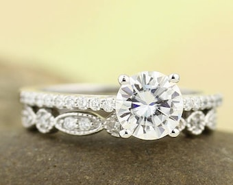 6.5mm Forever One Moissanite Colorless Engagement Ring & Diamond Wedding band set, Vintage Floral style In 14k White Gold,  Gem1403