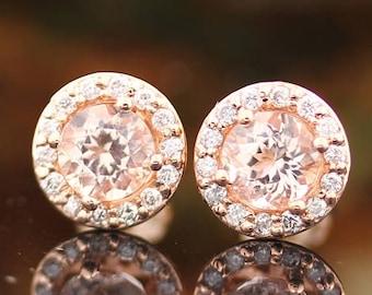 AAA Morganite Earring, Fancy  Halo Earrings 14k Rose Gold Morganite Stud Earrings Center 5mm Round Post Earring  P172