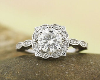 Certified Moissanite Engagement Ring Set  Diamond Wedding Vintage Floral Ring Set In 14k White Gold ,Rose Gold,Yellow Gold  7mm  Gem1377