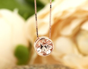 """Natural Morganite Bezel-Set Solitaire Pendant Necklace, 18"""" Box Chain in 14k Rose Gold"""