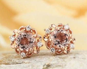 14K Rose Gold 1.00 CT Natural Morganite & Diamond Sculptural Style Stud Earrings