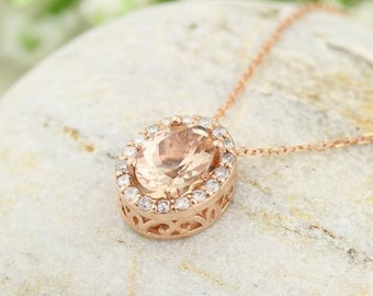 "10k Rose Gold Diamond Morganite Halo style Pendant Necklace, 18"" (morganite)"
