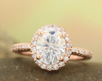Forever One (GHI) Moissanite Near Colorless  14K Rose Gold Diamond engagement  Halo Ring - antique Style - Gem748