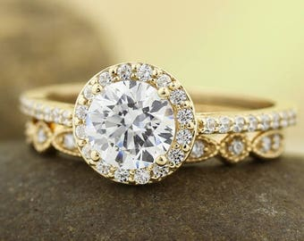 Certified  Forever One Moissanite Near-Colorless Engagement Ring Set  Diamond Wedding band In 14k Yellow Gold Gem1378